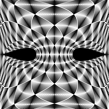 salient: Design warped diamond trellised backdrop. Abstract geometric monochrome element. Vector art. No gradient