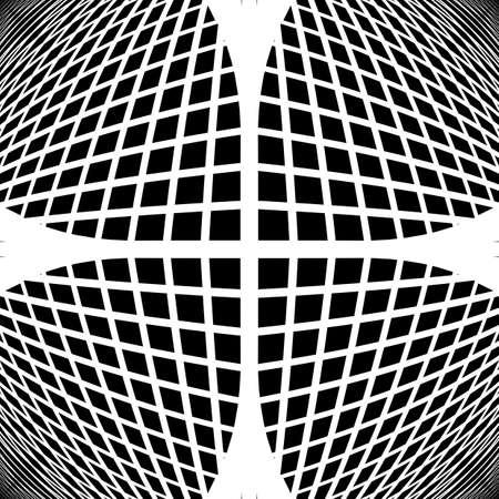 deform: Design monochrome checked geometric pattern. Abstract grid textured background. Vector art. No gradient