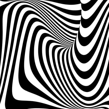 Design monochrome vortex movement illusion background. Abstract stripe torsion texture. Vector-art illustration 向量圖像