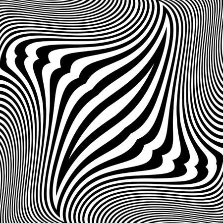 distortion: Design monochrome movement illusion background. Abstract striped lines distortion backdrop. Vector-art illustration. No gradient