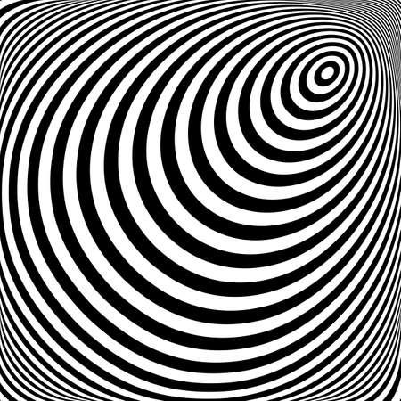 torsion: Design monochrome vortex movement illusion background. Abstract stripe torsion texture. Vector-art illustration Illustration