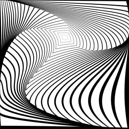 torsion: Design monochrome twirl movement illusion background. Abstract strip torsion backdrop. Vector-art illustration. No gradient