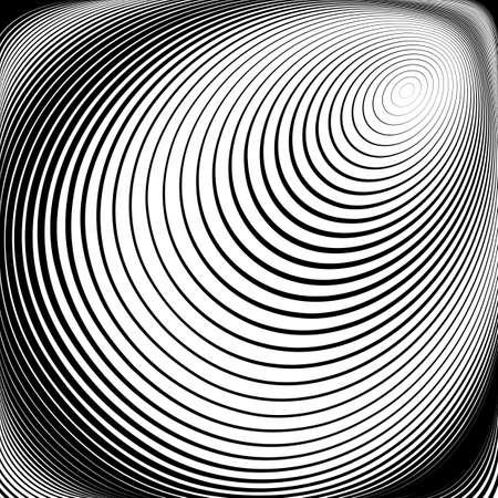 torsion: Design monochrome vortex movement illusion background. Abstract stripe torsion texture. Vector-art illustration. No gradient