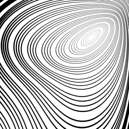 no movement: Design monochrome whirl ellipse movement background. Abstract stripy warped twisted backdrop. Vector-art illustration. No gradient