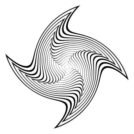 deform: Design monochrome circular abstract background. Whirl movement textured backdrop. Vector art. No gradient Illustration
