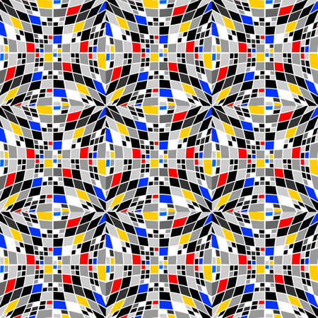 parallelogram: Design seamless colorful checked mosaic pattern. Abstract background. Vector art