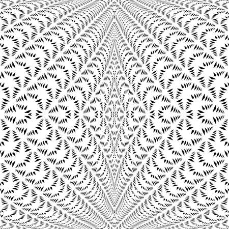 volumetric: Design symmetric lacy diagonal warped pattern. Abstract textile textured background. Vector art. No gradient
