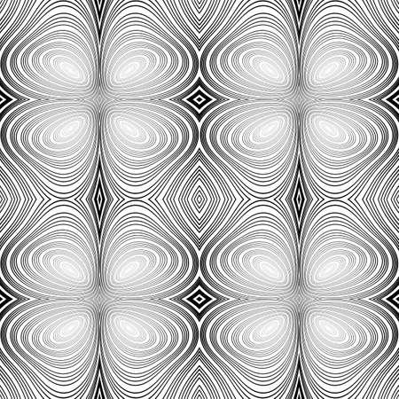 Design seamless monochrome ellipse background. Abstract stripy warped twisted pattern. Vector art. No gradient Vector