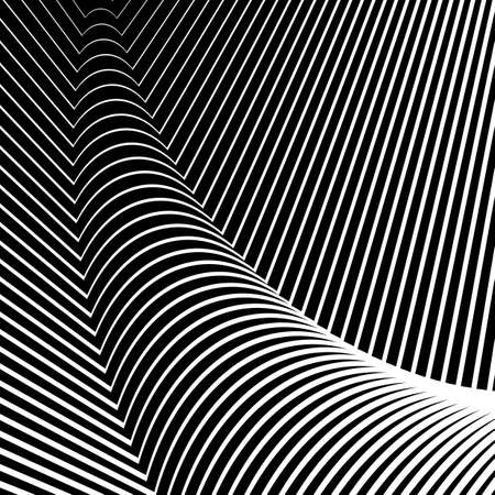 convex: Design convex textured background. Abstract lines distortion backdrop. Vector-art illustration. No gradient