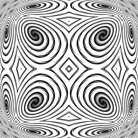 no movement: Design monochrome spiral movement background. Abstract backdrop in op art style. Vector art. No gradient