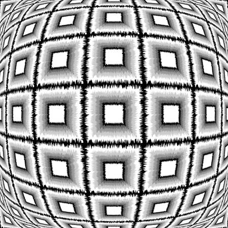deform: Design warped monochrome checked pattern. Abstract textured background. Vector-art illustration. No gradient