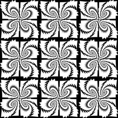 deform: Design seamless monochrome decorative pattern. Abstract geometric background. Vector art