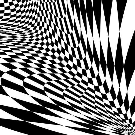 Design monochrome movement illusion checkered background. Abstract distortion backdrop. Vector-art illustration Иллюстрация