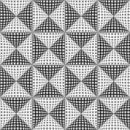 checkered volume: Design seamless monochrome triangular pattern. Abstract convex textured background. Vector art. No gradient