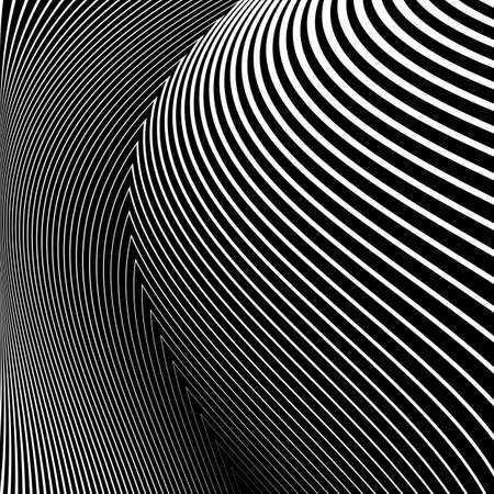 distortion: Design monochrome lines movement illusion background. Abstract striped distortion backdrop. Vector-art illustration. No gradient