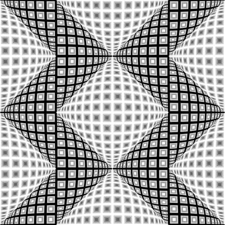 checkered volume: Design seamless monochrome warped zigzag pattern. Abstract convex textured background. Vector art. No gradient