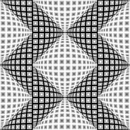 Design seamless monochrome warped zigzag pattern. Abstract convex textured background. Vector art. No gradient Vector