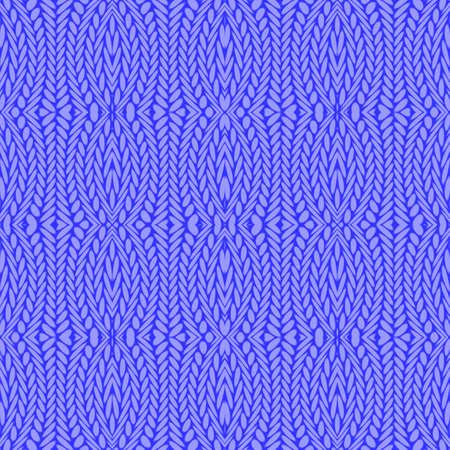 interlace: Design seamless cornflower blue knitted pattern. Thread textured textile background. Vector art Illustration