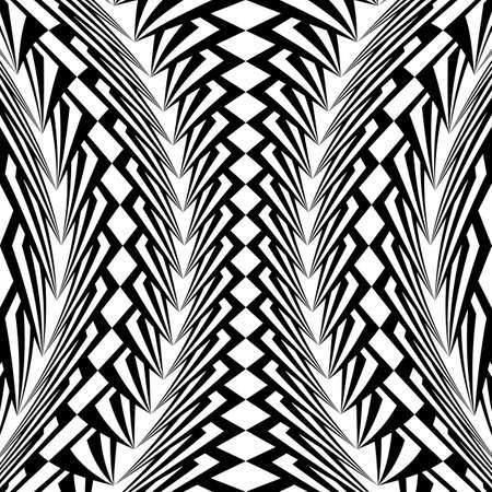 concave: Design warped monochrome vertical geometric pattern. Abstract stripy textured background. Vector art. No gradient Illustration