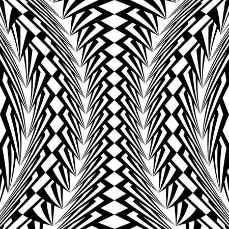 distort: Design warped monochrome vertical geometric pattern. Abstract stripy textured background. Vector art. No gradient Illustration