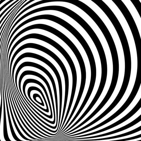 torsion: Design monochrome whirlpool movement illusion background. Abstract stripe torsion backdrop. Vector-art illustration