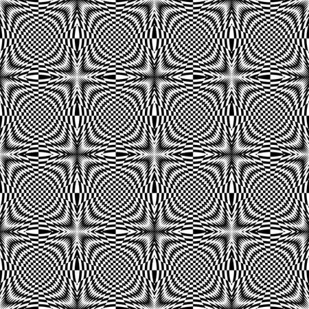 torsion: Design seamless monochrome illusion checkered background. Abstract torsion pattern. Vector art. No gradient