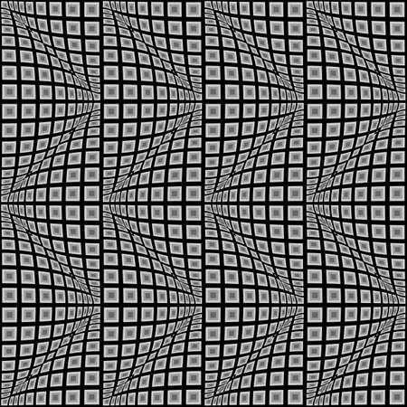 convex: Design seamless monochrome warped zigzag pattern. Abstract convex textured background. Vector art. No gradient