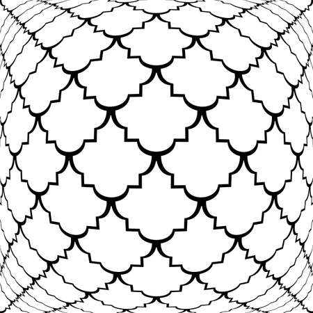 convex: Design warped monochrome convex pattern. Abstract grid textured background. Vector art