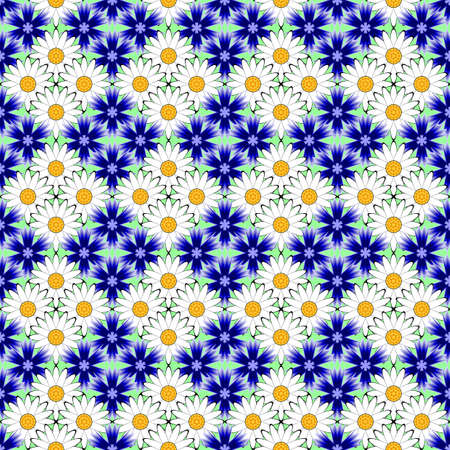 margerite: Design seamless flower pattern. Decorative background. Vector art