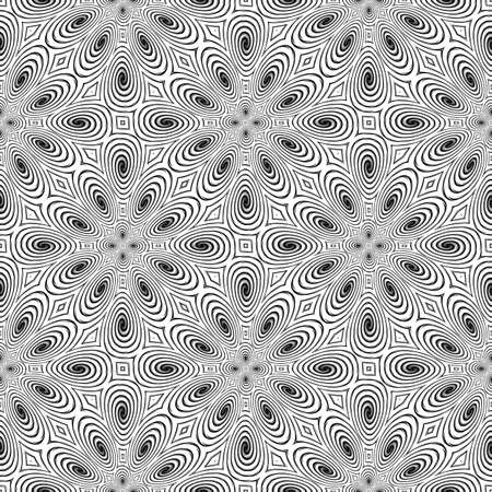 no gradient: Design seamless monochrome spiral movement pattern. Abstract background in op art style. Vector art. No gradient