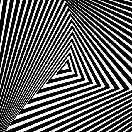 distortion: Design monochrome triangle movement illusion background. Abstract striped distortion geometric backdrop. Vector-art illustration. No gradient Illustration