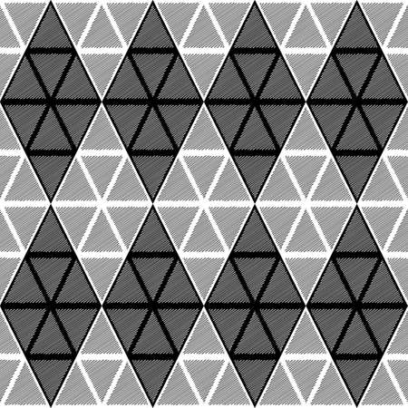 Design seamless monochrome diamond geometric pattern. Abstract doodle lines textured background. Vector art. No gradient