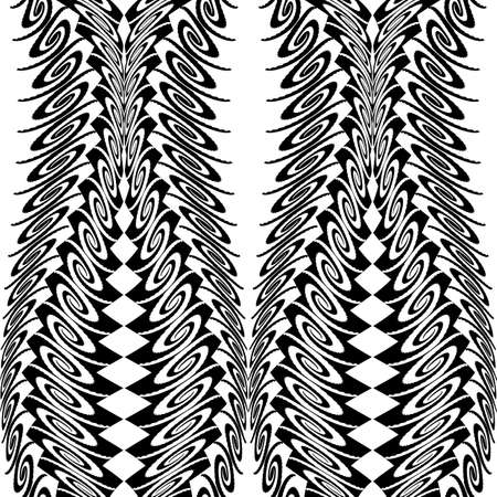 deform: Design seamless monochrome vertical decorative pattern. Abstract background. Vector art Illustration