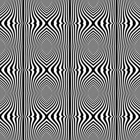 deform: Design seamless monochrome pattern. Abstract lines textured background. Vector art. No gradient Illustration