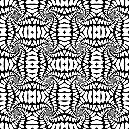 distortion: Design seamless monochrome abstract background. Abstract whirl distortion pattern. Vector art