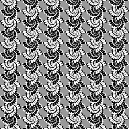 wattle: Design seamless monochrome vertical spiral background. Abstract decorative lacy pattern. Vector art