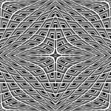 Design monochrome warped grid pattern. Abstract latticed textured background. Vector-art illustration. No gradient
