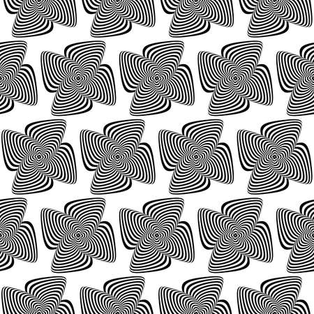 volumetric: Design seamless monochrome whirlpool motion illusion background. Abstract striped distortion backdrop. Vector art Illustration