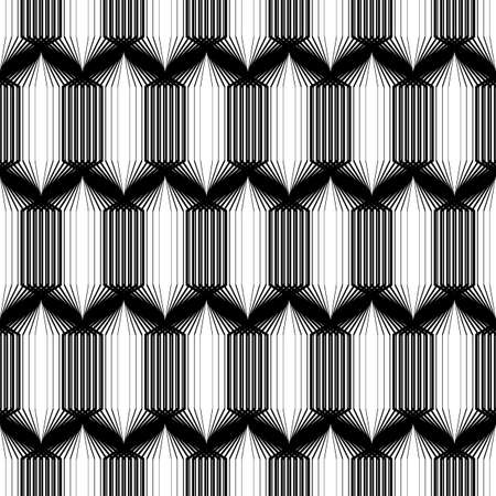 zigzag: Design seamless monochrome geometric pattern. Abstract striped zigzag background. Vector art. No gradient Illustration