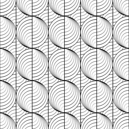 uncolored: Design seamless uncolored circle lines pattern. Abstract grid textured background. Vector art. No gradient Illustration