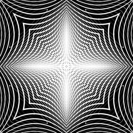 latticed: Design monochrome warped grid backdrop. Abstract latticed textured background. Vector-art illustration. No gradient