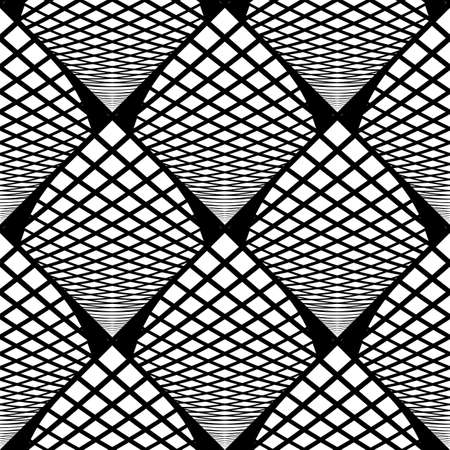 deform: Design seamless monochrome checked geometric pattern. Abstract grid textured background. Vector art