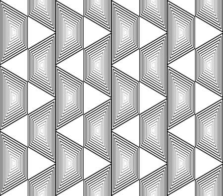 trapezium: Design seamless monochrome trapezium geometric pattern. Abstract striped zigzag background. Vector art. No gradient