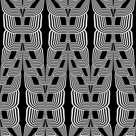 deform: Design seamless monochrome wave striped pattern. Abstract twisted background. Vector art
