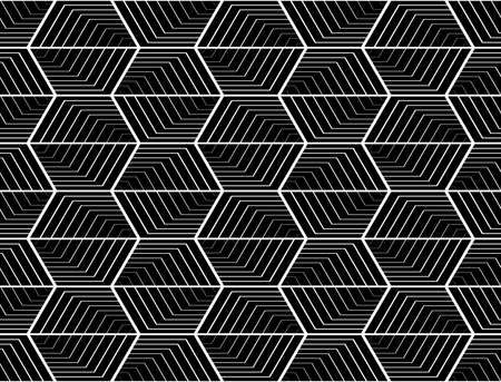 web2: Design seamless monochrome hexagon geometric pattern. Abstract striped zigzag background. Vector art. No gradient Illustration