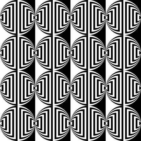 ellipse: Design seamless monochrome ellipse geometric pattern. Abstract striped background. Vector art. No gradient Illustration