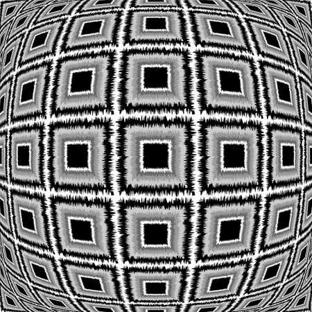 checkered volume: Design warped monochrome checked pattern. Abstract textured background. Vector-art illustration. No gradient