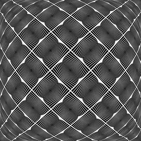 checkered volume: Design warped monochrome geometric pattern. Abstract textured background. Vector art. No gradient
