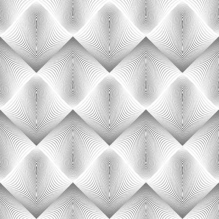 diamond background: Design seamless wave geometric pattern. Abstract monochrome diamond background. Vector art. No gradient Illustration