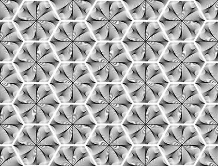 no gradient: Design seamless monochrome hexagon geometric pattern. Abstract whirl lines textured background. Vector art. No gradient